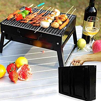 LETION UTTORA Charcoal Grill Barbecue Portable BBQ - Stainless Steel Folding Grill Tabletop Outdoor Smoker BBQ for Picnic Garden Terrace Camping Travel 15.35''x11.41''x2.95''