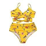 CVBNM Bañador para mujer con sujetador push-up, con volantes, con parte inferior de cintura alta, estampado de playa, bañador amarillo L