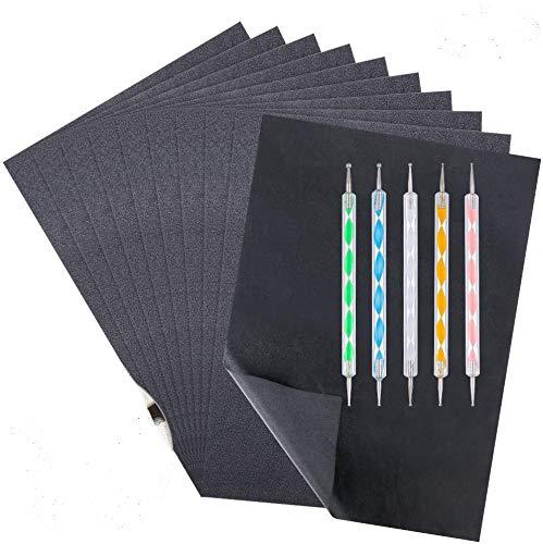 You&Lemon 100 Blatt Kohlepapier mit 5 Stück Prägestift Set, A4 Transferpapier, Schwarz Durchschlagpapier, Carbon Papier Pauspapier für Holz, Papier, Leinwand