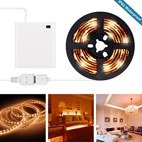 Battery Operated LED Strip Lights with USB LED Light Strip Kit 6.6FT 2M SMD 3528 IP65 Waterproof LED Tape Light (Cool White)
