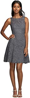 Short Sleeveless Illusion Lace Bridesmaid Dress Style F18031