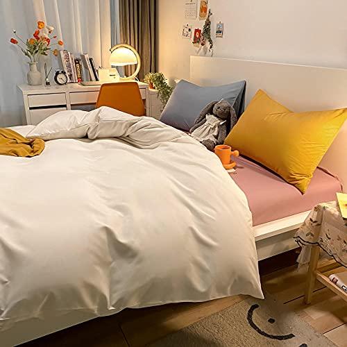 Traje de Cuatro Piezas de Contraste de Color Puro con Funda de Almohada Cama de Viento Simple Duvet Funda Dormitorio Estudiante-Blanco + Lotus Color_200 * 230m