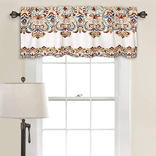 "DiamondHome Sarah Valance Paisley Damask Print Bohemian Style Single Curtain (Turquoise & Tangerine, 18"" x 52"",)"