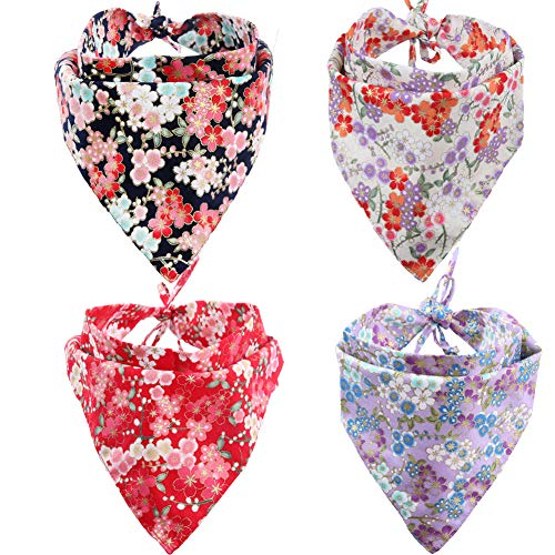 KZHAREEN 4 Pack Dog Bandanas Triangle Bibs Scarf Accessories Japanese Style Large
