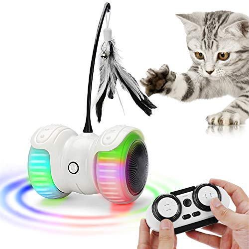 Atpot Cat Toys for Indoor Cats, Interactive Cat Toy,14 in 1 Smart Automatic Robotic and Remote Control Cat Toy with USB Rechargeable,Feather,Corful Light,Catnip,Bells for Kitten Fun