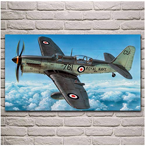 Kunstwerk Vliegtuigen Koninklijke Fighter Vliegtuigen Woonkamer Decoratie Home Art Decor Stof Poster Print op Doek -60x100cm-Geen Frame