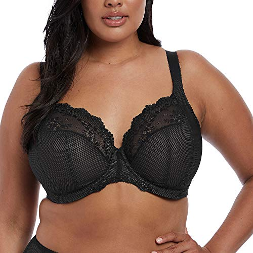 Elomi Women's Plus-Size Charley Stretch Lace Underwire Plunge Bra Bra, Black, 38JJ, 38JJ