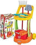 Dede chariot menage enfant, menagere enfant, nettoyage jouet, fille, kit jeux menage, jeux balais 9 pièces,3 ans+
