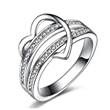 Clearance Rings,Women Fashion Luxury Love Heart Diamond Rings Engagement Wedding Rings Jewelry Gift by ZYooh (Silver, 7)