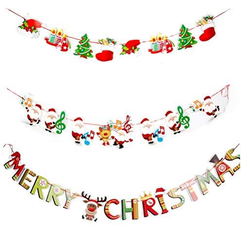 NUOBESTY Fahnen-Flaggendekoration der frohen Weihnachten der Fahne 3pcs Weihnachtsfür Kaminwand für Haupteinkaufszentrumhotel-Vereinbüro