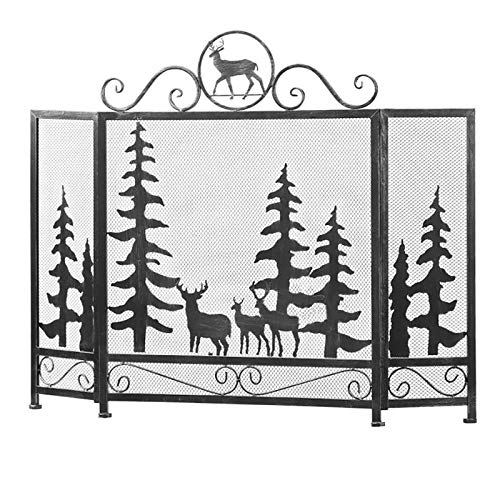 Fireplace Screen Extra Wide 3 Panel Fireplace Screen, Deer Tree Pattern Design Fire Spark Guard for Child Safety Living Room Decor, 88cm Tall