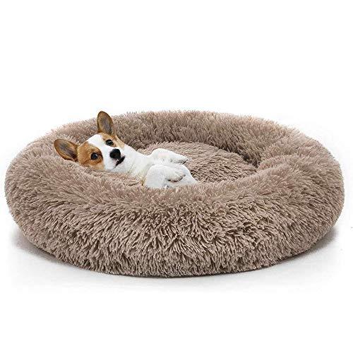 GOOCO Plysch munk husdjurssäng, hund katt rund varm kram kennel mjuk valpsoffa, katt kudde säng sovsäck ortopedisk lindring och förbättrad sömn, halkfri botten, maskintvättbar