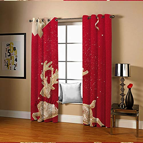 Amody Window Treatments Blackout Curtains Golden Elk Window Drapes Red Elegant Window Curtains for Living Room 214x115CM
