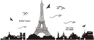 Pegatinas de pared arte-calcomanías de pared-pegatina murales 60 * 90cm París Torre Eiffel para el hogar dormitorio oficina, Wall paper para niños y niñas