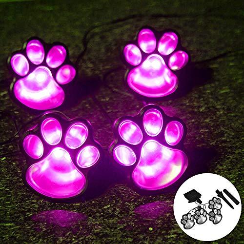 Dream Cubby Luces de cadena de luces LED con impresión de huellas solares al aire libre, luces de Navidad, luces de jardín para patio, patio (luz rosa)