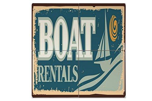 Azulejo Retro Alquiler de barcos Ceramica impreso 15x15 cm