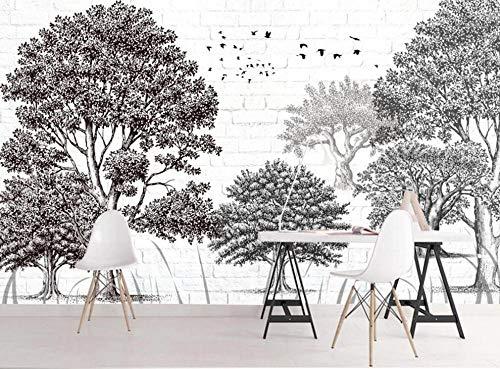 Papel Pintado 3D Mural Bosquejo De La Pared De Ladrillo De Árbol Blanco Y Negro Papel Tapiz Pared 3D Fotomural Moderno Wallpaper Salón Dormitorio Decoración,350X245cm
