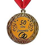 Larius Group Médaille Cadeau de Mariage 50 Ans Ensemble ou Votre Texte personnalisé | Cadeau pour événement, compétition, Mariage, d'anniversaire, de Noël (avec Ruban)