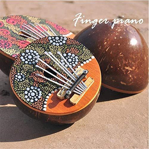 Geschenk für Kinder Erwachsene Anfänger Beruf Kalimba 7 Key Sanza Finger Piano Painted Kokosnußschale Mbira Likembe Daumenklavier (Color : Multi-Colored, Size : One Size)