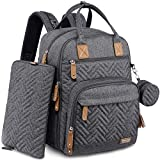 Diaper Bag Backpack, iniuniu Large Unisex Baby Bags for Boys Girls, Waterproof Travel Back Pack with Diaper Pouch, Washable Changing Pad, Pacifier Case and Stroller Straps, Dark Gray