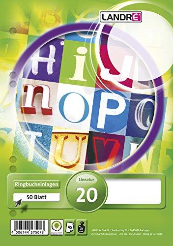 LANDRE 100050494 Ringbucheinlagen A5 50 Blatt blanko 70 g/m² holzfrei runde Ecken gelocht Ringbuch-Einlage Papier-Einlage