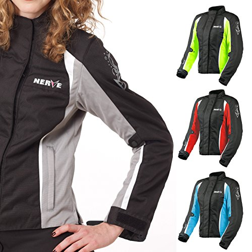 Motorradjacke -Unique-Motorrad Damen Wasserdicht Jacke mit Protektoren Sommer Winter Textil Frauen - schwarz-silber - 44
