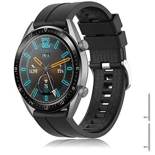 TOPsic Armband für Huawei Watch GT 2/Huawei Watch GT Fashion/Sport/Active/Elegant/Classic/Galaxy Watch 46mm/Gear S3, 22mm Uhrenarmband Silikon Edelstahl Metall Ersatzband