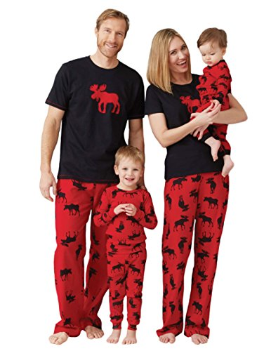 Little Blue House by Hatley Little Boys Kids Pajama Set- Moose On, Red, 3