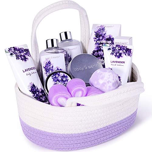 Frauen Geschenke, Body & Earth 6Pcs Cosmetics Bade Korb Set mit Lavendel Duft, Enthält Duschgel, Schaumbad, Body Lotion, Körperbutter, Badesalz, Geschenk Geburtstagsgeschenk für frauen Wellness Set