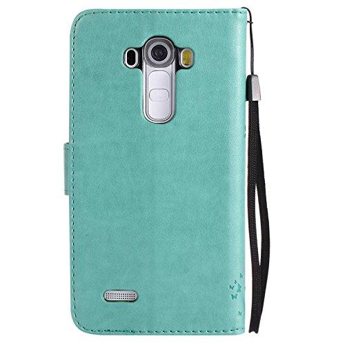 FCLTech LG G4 Hülle, Premium Leder PU Prägung Handyhülle Flip Case, Klapphülle Klappbar Silikon Bumper Schutzhülle für LG G4, Grün