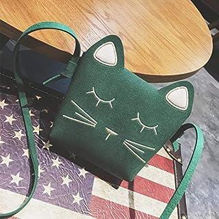 Adebie - Fashion Cat Cute Small Girl's Messenger Bag Mini Cartoon Designer Children Flap Crossbody Bag Women Shoulder Light Kid's Handbag Green []