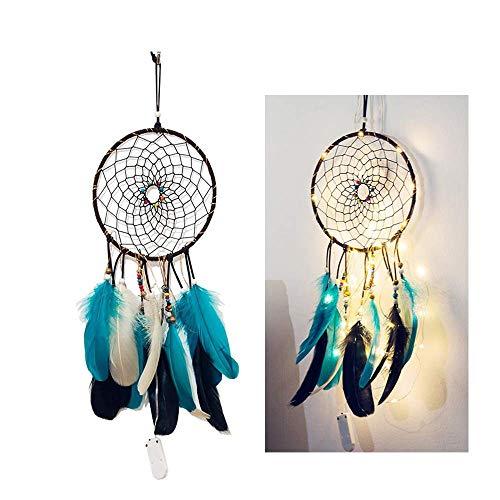 Maygone Traumfänger-LED-Lichterkette, für Jungen und Mädchen, Geschenk mit blauen, schwarzen und weißen Federn, Schlafzimmer-Dekoration blau