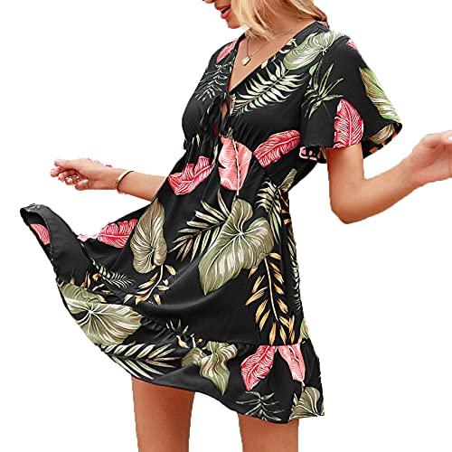 XYJD Lente en zomer dames casual pullover V-hals losse print korte mouwen jurk dames - zwart - 5XL