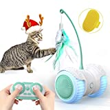 Cat Toys for Indoor Cats, 14 in 1 Smart Robotic Interactive Cat Toy, Auto/RC 2 Mode, Kitten Approved Toy With Bulit-in Active Program,Feather,Corful Light,Catnip,Bells -Family Christmas Cat Toys Gift
