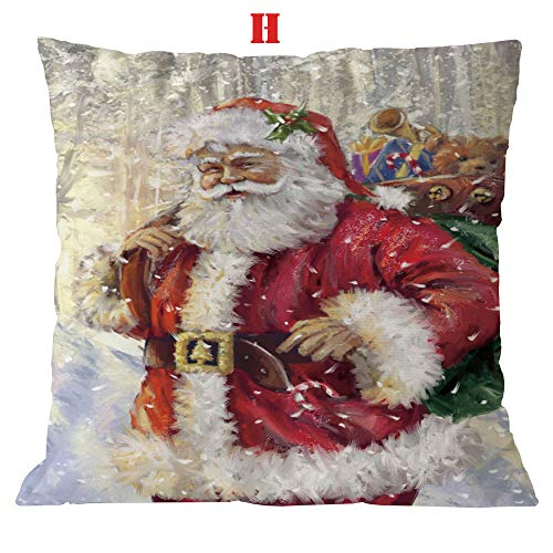 jieGorge Cotton Linen Christmas Pillow Case Sofa Car Throw Cushion Cover Home Decor, Pillow Case, for New Year (H)