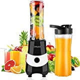 IMURZ Blender for Shakes and Smoothies, Mini 300 Watt Personal Smoothie Maker, Small Portable Countertop Blenders with 2 Tritan 20 Oz Sports Bottles BPA-Free for Office and Travel (Black)