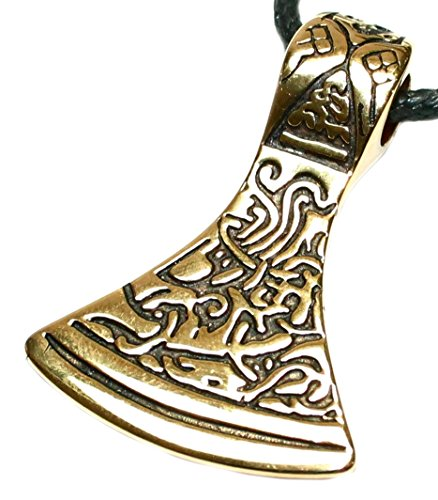 Budawi® - Anhänger Axt Talisman mit Ornamenten verziert aus Bronze 40x30 mm, Kettenanhänger