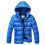 SXSHUN Niños Chaqueta de Nieve para Invierno Boys' Snow Jacket Abrigo Acolchado con Capucha para Chicos, Azul, 9-10 años (Etiqueta: 140cm)