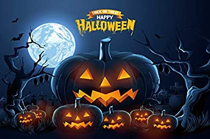 DORCEV 10x8ft Trick or Treat Happy Halloween Photography Backdrop Horrible Midnight Forest Grimace Pumpkins Background Halloween Party Supplies Banner Kids Adults Photo Studio Props