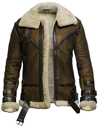 BRANDSLOCK Mens Aviator Real Shearling Sheepskin Leather Bomber Flying Jacket (2XL, Rustic)