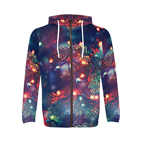 INTERESTPRINT Men's Long Sleeve Hoodie for Running Cycling Gym Christmas Tree with Color Ball S
