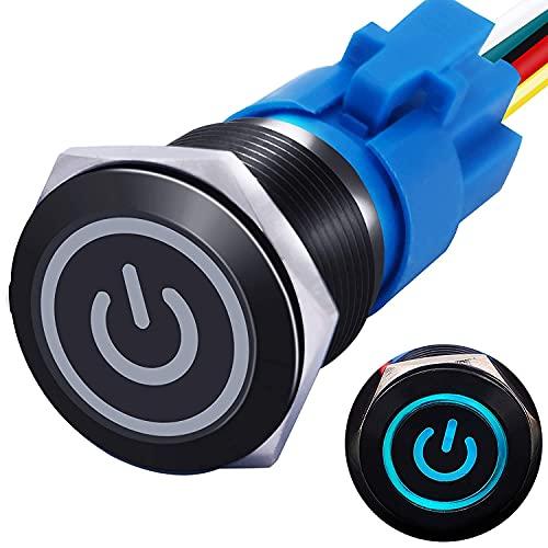 mxuteuk 19mm Verriegelung Druckschalter 1NO 1NC SPDT EIN/AUS Schwarzes Metallgehäuse mit 12V Power Symbol Leuchte Drucktaster mit Steckdose Stecker für 3/4