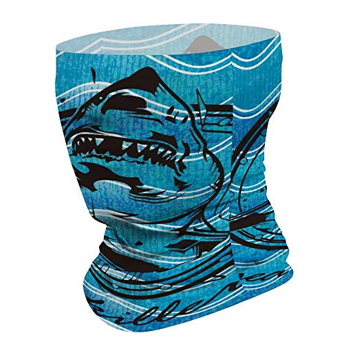 Yilooom Shark Deep in The Sea, Seamless Face Mask Bandanas, Unisex Face Scarf for Outdoor Dust Wind Sun Protection