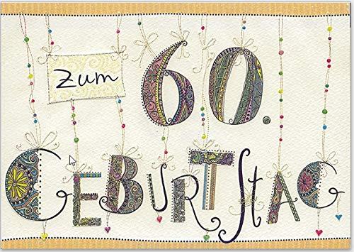 Elegante Glückwunschkarte zum 60. Geburtstag, für Sie und Ihn - hochwertige Grußkarte von Turnowsky zum Aufklappen mit Umschlag