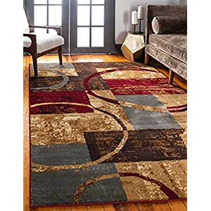 Unique Loom Barista Collection Modern Circles Rustic Warm Multi Area Rug (9′ 0 x 12′ 0)