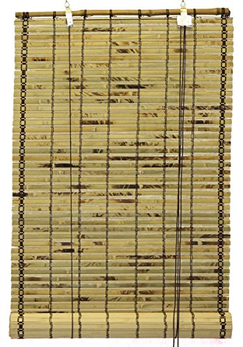 Seta Direct, Natural Bamboo Slat Tortoise Shell Roll Up Window Blind 95-Inch Wide by 66-Inch Length