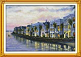 Night at the Aeaside Villas Scenic Cross stitch kits Set 11CT Accurate Printed Embroidery DIY Handmade Needlework Home Decor 40¡Á50cm