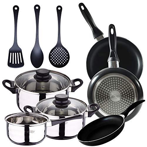 Batería de cocina 5 piezas acero inoxidable y 3pcs Utensilios de cocina y Set 3pcs sartenes 16/20/24 cms, negro, aluminio prensado, inducción