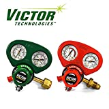 Set of Medium Duty Victor Oxygen & Acetylene Regulators w/Metal Gauge Guards