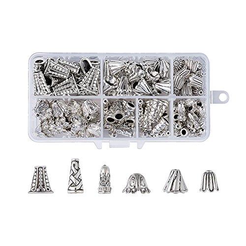Pandahall 120pcs Antique Silver Bead Caps Terminators 6 Styles Jewelry Making Metal Bead Cones